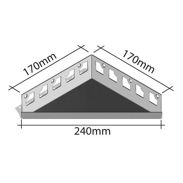 Duschablage, befiesbar, gleichschenklig, Breite von 240 bis 380mm